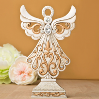 Ivory & Matt Gold Poly Resin Angel Statue